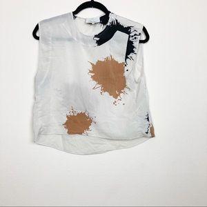 3.1 Phillip Lim silk cream paint splatter blouse